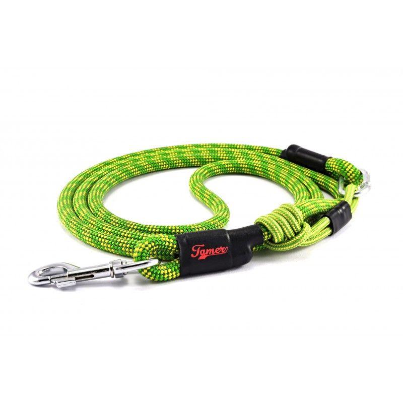 Tazz-Sport - Tamer vodítko zelenožluté s černým posuvným systémem 2,5m
