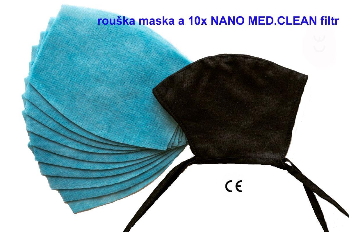 Tazz-Sport - Nano Medical NANO MED.CLEAN rouška maska černá + 10x NANO MED.CLEAN filtr