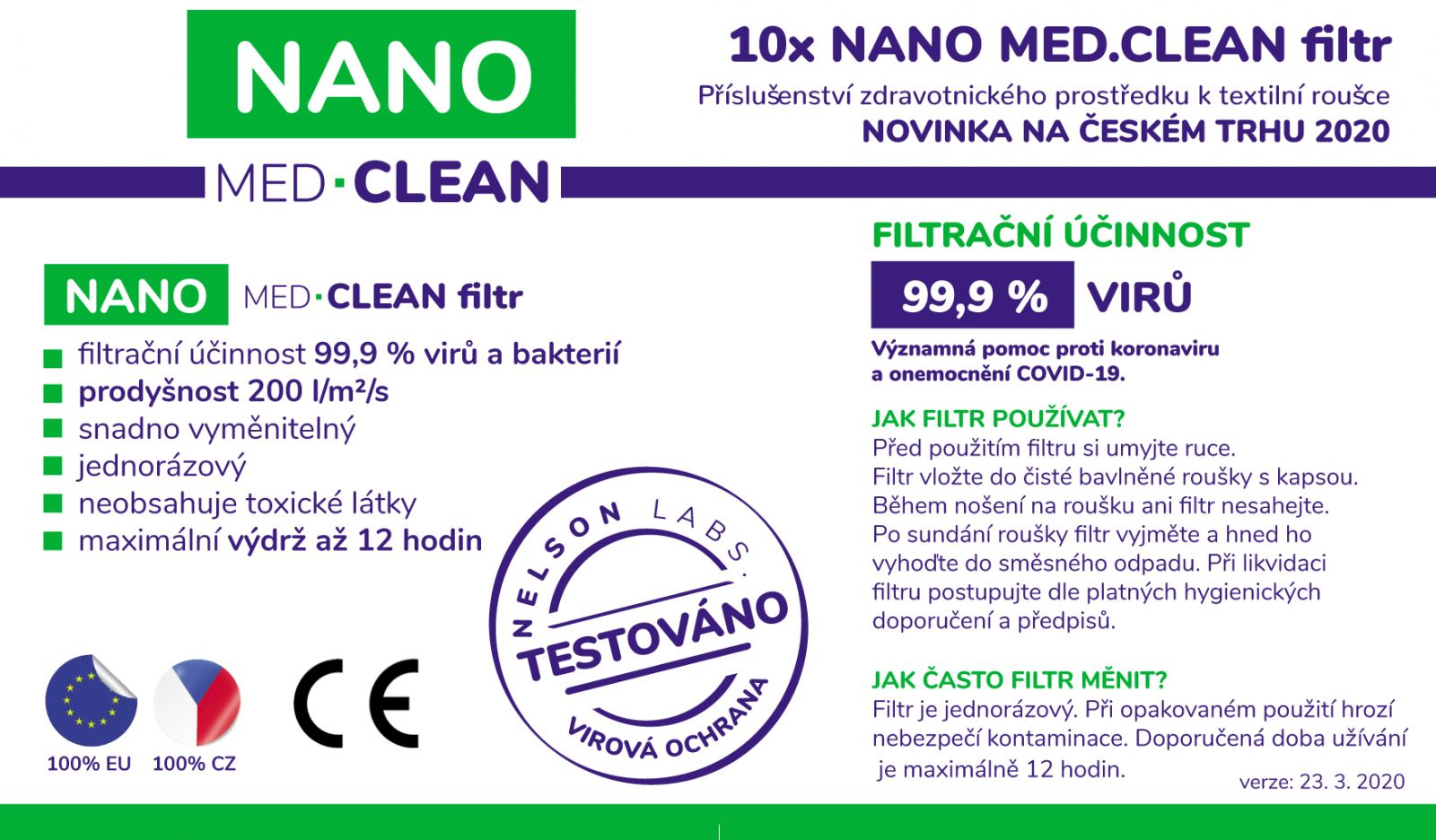Tazz-Sport - Nano Medical 10x NANO MED.CLEAN filtr Triola